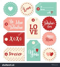 Set Of Valentines Day Gift Tags Typographic Vector Design With Illustrations And Wishes. Holiday Printable Badges And Labels With Love Theme - 361972940 : Shutterstock