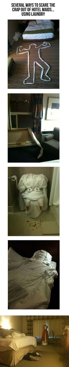 hotel prank using laundry. We should totally do this this weekend!!!