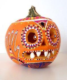 Top 5 Fashion Pumpkins: Day of the Dead Sugar Skull #halloween #pumpkin #jackolantern
