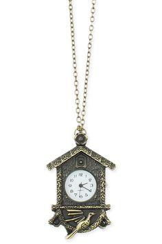 Cuckoo Clock Watch Necklace.