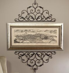 WROUGHT CAST IRON METAL DECORATIVE WALL SCROLL FOR PICTURE MIRROR WINDOW OR DOOR