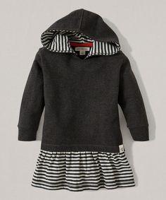 Burts Bees Baby Ash Heather Stripe Organic Hooded Dress - Infant, Toddler & Girls | zulily