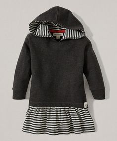 Burts Bees Baby Ash Heather Stripe Organic Hooded Dress - Infant, Toddler & Girls | zulily