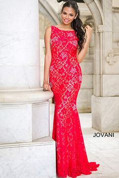 Jovani Prom 21789 Stunning fitted lace floor length dresses feature a  plunging back and crystal beaded embellishments Sale Price only Valid  online br  5e386a19b