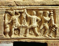Etruscan civilization, tufa urn with scenes of Gauls plundering temples. Etruscan civilization, 4th century b.C. Artwork-location: Volterra, Museo Etrusco Guarnacci (Etruscan Museum)