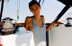Elli in her element; on a sailboat