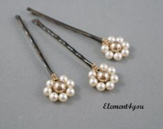 Pearl Bobby Pins Hair Accessories Swarovski Gold Brown Clips Pink Champagne Ivory Bridesmaid gift Wedding headpieces Flower girl hair do Bobby Pin Hairstyles, Flower Girl Hairstyles, Flower Headpiece Wedding, Wedding Headpieces, Hair Jewelry, Beaded Jewelry, Gold Girl, Bridal Hair Pins, Hair Beads