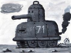 paintedtank: acrylic on paper: Stephen Jeffrey.