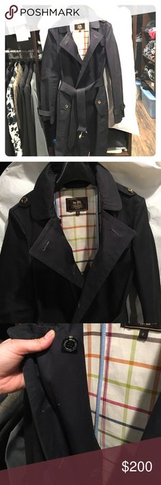 Coach Great American Trench Coat Black with tartan interior. Only worn a few times. Note I removed the outer row of gold closure buttons (gold buttons are still on the other details), and the interior black buttons remain. Coach Jackets & Coats Trench Coats