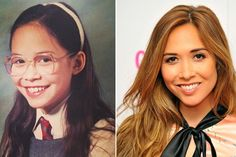 Myleene Klass as a child with wide rim glasses and as we know her now - the TV presenter