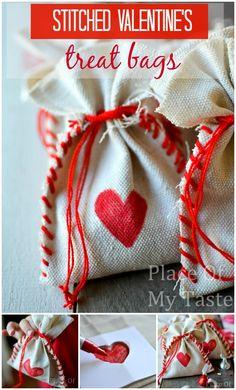 STITCHED DROP CLOTH VALENTINE's treat BAGs -