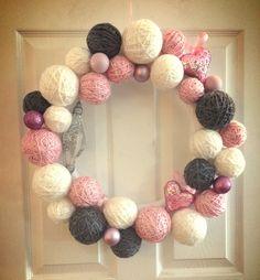Homemade Yarn Valentine's Day Wreath
