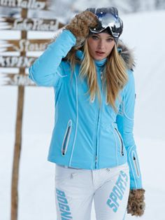 Ski Fashion l mona-tp blue jacket with fur bogner #Ski #jacket #pants