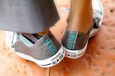 Custom Wedding Converse Bride and Groom's Hand by YoursTrulyShoes