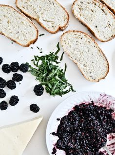 grilled fontina + blackberry basil sandwiches
