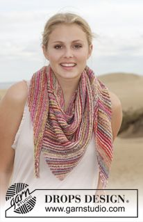 "Knitted DROPS shawl in garter st with stripes in ""Fabel"". ~ DROPS Design"