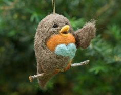 Needle Felted Robin Ornament - Singing with Heart