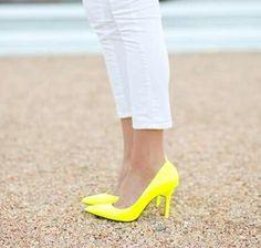 #Neon #yellow #heels