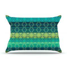 "Nina May ""Denin Diamond Gradient Green"" Turquoise Emerald Pillow Case"