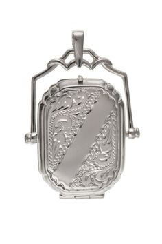 Silver Engraved Octagonal Fob Locket #jewellery #silver #locket #pendant #fob #spinner Locket Design, St Christopher Pendant, 925 Silver, Sterling Silver, Silver Lockets, Jewelry Collection, Ebay, Jewellery, Jewels