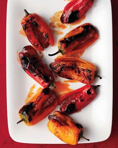 Broiled sweet peppers stuffed with chorizo are great on their own as an appetizer or as a side for roasted chicken or sauteed shrimp.