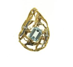 1970s 14K Gold Aquamarine Diamond Sapphire Pendant Featured in our upcoming auction on June 28!