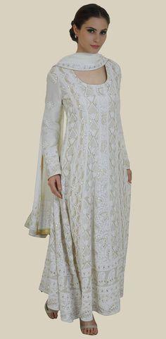 Cream Chikankari and Gota Patti Anarkali Pure Georgette Suit Indian Attire, Indian Wear, Pakistani Outfits, Indian Outfits, India Fashion, Asian Fashion, Indian Designer Outfits, Designer Dresses, Suits For Women
