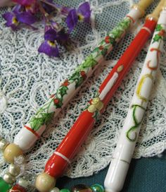 Christmas lace bobbins. Hand painted.
