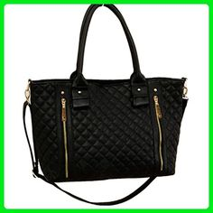 635459553d Ayliss Elegant Womens Double Zipper PU Leather Quilted Tote Large Shoulder  Bag Handbag Black - Totes