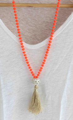 Neon Orange Necklace. Knot and Tassel by lizaslittlethings on Etsy, $40.00