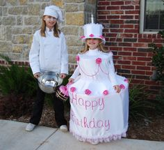 birthday cake costume is cute!