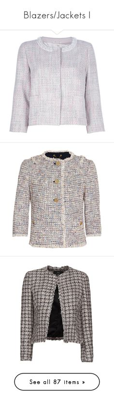 """""""Blazers/Jackets I"""" by minimeing ❤ liked on Polyvore featuring outerwear, jackets, jackets and blazers, cream blazers, cream tweed blazer, three quarter sleeve blazer, 3/4 sleeve blazer, blazer jacket, blazers and tory burch"""