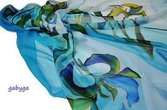 Blue flowers/Handmade scarf/hand painted silk by GABYGA on Etsy