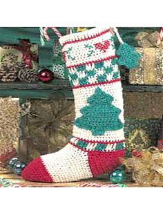 Christmas Tree Stocking - Ann E Smith  #Free #Crochet #Pattern free-crochet.com Membership site - membership is free and well worth it!