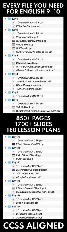 Every lesson for 180 days of high school English. Prep work? DONE! #highschool #Englishteacher #lessonplan #CCSS