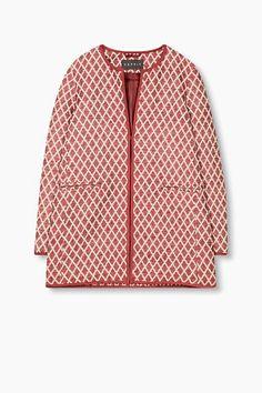 Esprit / Mantel met ruitpatroon, katoenmix