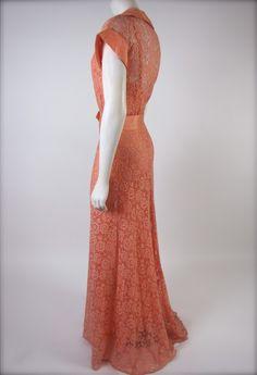 The Timeless Peach 1930's Deco Taffeta & Lace Wedding Bridal Party Full Length Dress