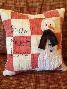 Snowman Pillow made from Vintage Quilt Snow by IttyBittyCottage