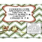 Common Core Aligned 6 Traits Argument Writing Rubrics for Middle School  This packet includes the 6th, 7th, and 8th grade versions of 6 Traits writing rubrics. All rubrics are aligned to the Common Core Standards and are very detailed.  An argument transition list, self and peer review checklist, 7 different mini-checklists that align to each specific trait, and outline format for a five-paragraph argument essay are included.