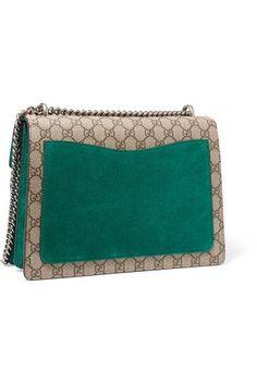 Gucci - Dionysus Medium Embellished Appliquéd Coated-canvas And Suede Shoulder Bag - Beige - one size
