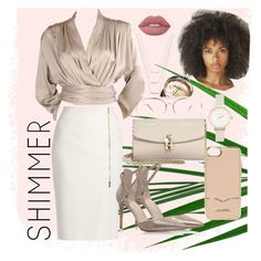 Shimmer Beauty by nianichelle on Polyvore featuring polyvore, fashion, style, Yves Saint Laurent, MaxMara, Dolce&Gabbana, Olivia Burton, ERTH, Rebecca Minkoff, Lime Crime, Nine West, Chanel and clothing