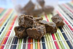 The World's Healthiest and Easiest Fudge (Low Calorie, Low Fat, Vegan, Low Carb, Sugar Free)  1/4 cup almond meal  2 Tablespoons almond milk  1/4 cup mashed banana, pumpkin, or applesauce (Choose this carefully, as it will determine the flavor of your fudge. I tried banana and pumpkin, and while pumpkin was great, I thought banana was best in this.)  1 Tablespoon unsweetened cocoa powder (Carob powder is great, too)  sweetener to taste, optional (I used one packet of stevia.)