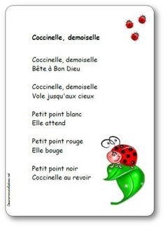 Comptine Coccinelle demoiselle Nursery Ryhmes, Grade 2 Science, Kids Poems, French Resources, French Lessons, One Liner, Teaching French, Learn French, Business For Kids
