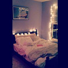 Stringing Lights in Bedroom #bedroom #decor #design