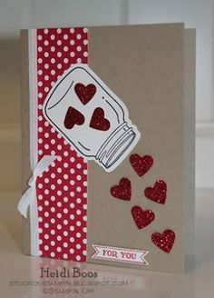 A sprinkle of love for you! I love Heidi's idea to spill the hearts out of the mason jar. Very creative!  Pin this card: https://www.pinterest.com/pin/194147433912202665/  Source: http://www.pinkpaperbakery.com/2013/01/magnificent-monday.html