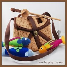 Cute! Would be fun to sew magnets into fish mouths and hook to be able to catch the fish