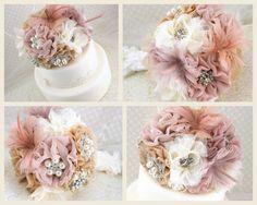 elegant flower cake topper