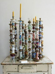 How to use thrift store junk: Tchotchkes Candlesticks