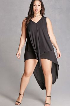 Plus Size Draped High-Low Dress