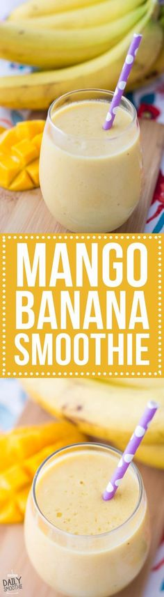 mango banana smoothie recipe is creamy and delicious! This sweet smoothie will make you feel like you're in the tropics.This mango banana smoothie recipe is creamy and delicious! This sweet smoothie will make you feel like you're in the tropics. Fruit Smoothies, Mango Banana Smoothie, Juice Smoothie, Smoothie Drinks, Healthy Smoothies, Healthy Drinks, Delicious Smoothie Recipes, Recipes For Smoothies, Healthy Smoothie Recipes